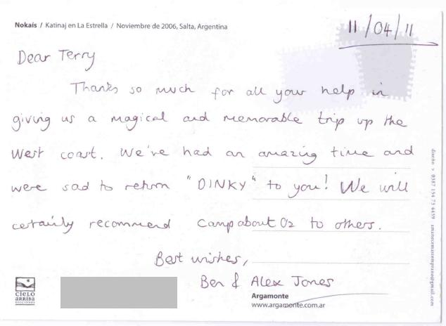 CampAbout Oz Postcard from Happy Customer